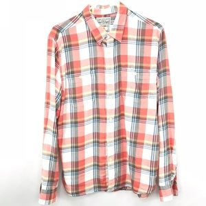 Lucky Brand Coral Plaid Blue Burton Up Shirt Large